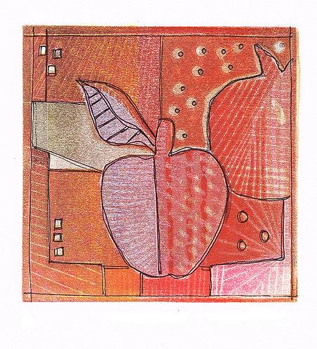 2 Apples Pink - Linocut
