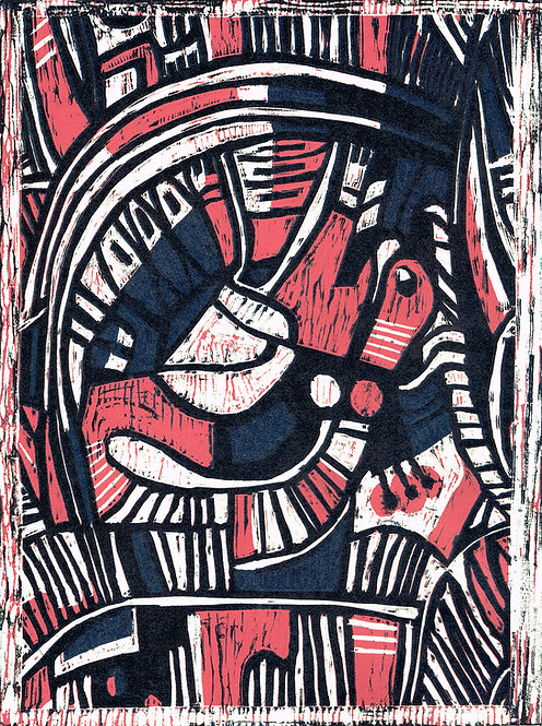 Abstract 'Iris & Rose' - Woodcut