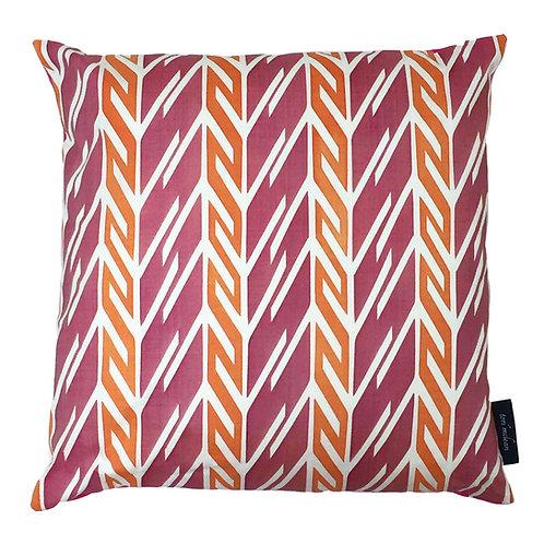 Butterfly Stripe Cushion - Crimson & Orange