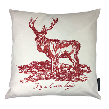 Stag Country Life Linen Union Cushion - Crimson