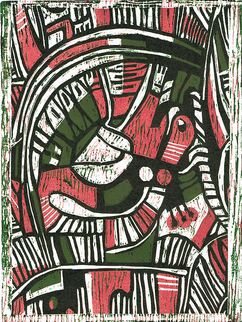 Abstract 'Sage & Thyme' - Woodcut