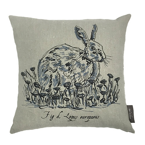 Hare Country Life Linen Cushion - Grey