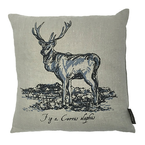 Stag Country Life Linen Cushion - Grey