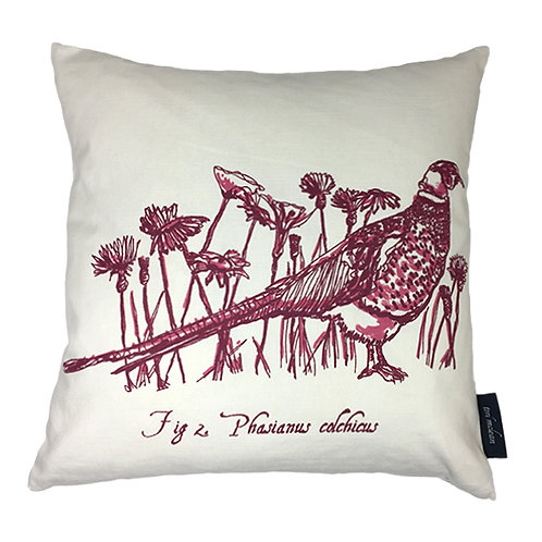 Pheasant Country Life Linen Union Cushion - Magenta
