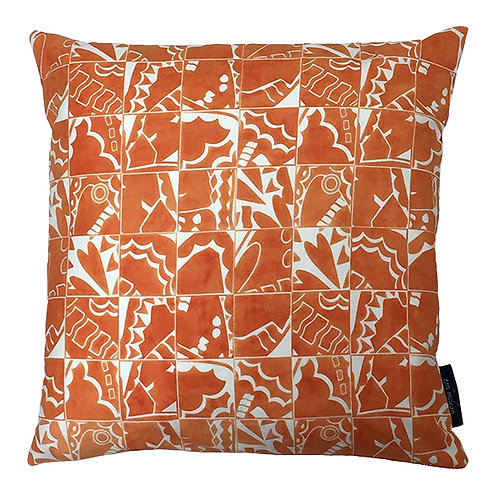 Butterfly Check Cushion - Orange