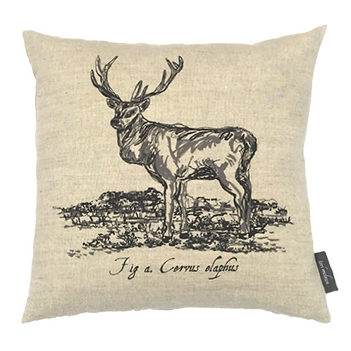 Stag Country Life Linen Cushion - Beige