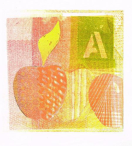 Paper Apples - Linocut