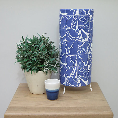Butterfly Check Tube Table Lamp - Prussian Blue