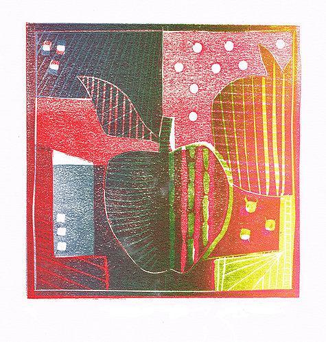 2 Apples Purple - Linocut
