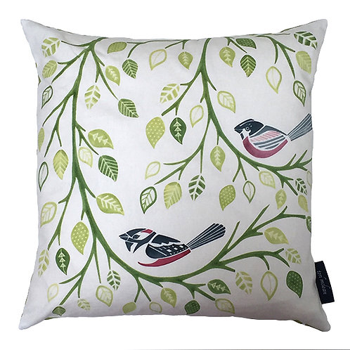 Bird and Branches Cushion - Lime