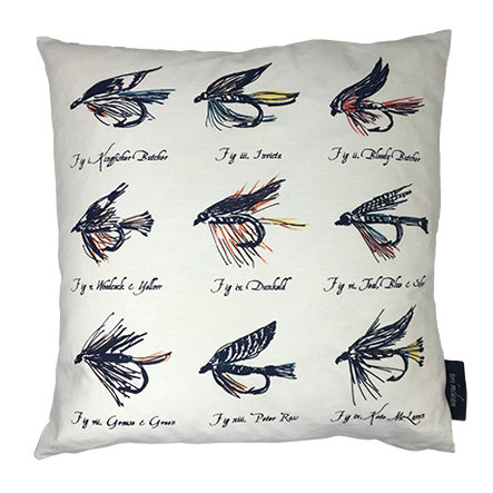 Trout Flies Country Life Linen Union Cushion - Navy
