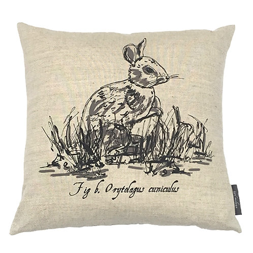 Rabbit Country Life Linen Cushion - Beige