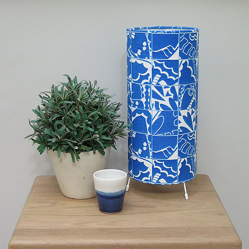 Butterfly Check Tube Table Lamp - Royal Blue