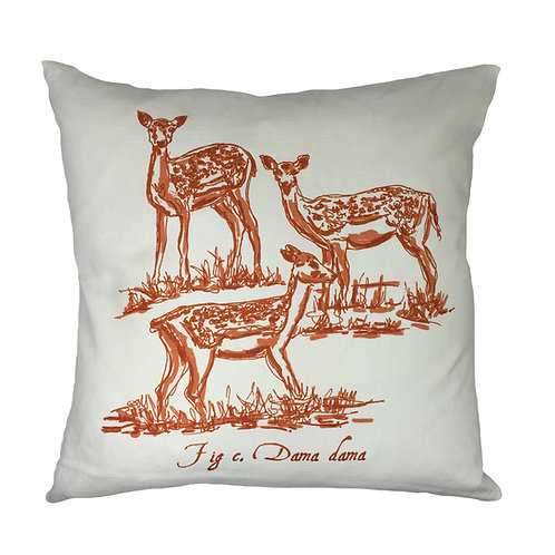 Deer Country Life Linen Union Cushion - Orange