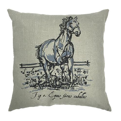 Horse Country Life Grey Linen Cushion