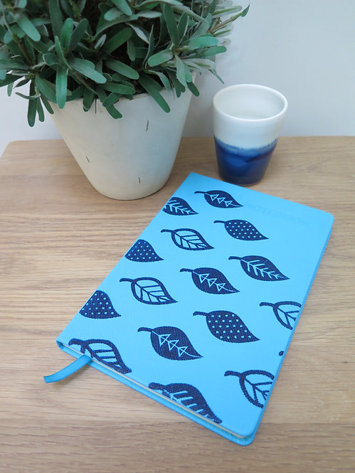 A5 Leaves Hand-printed Notebook - Blue