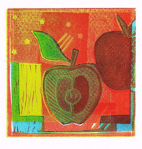 Apples & Stars - Linocut