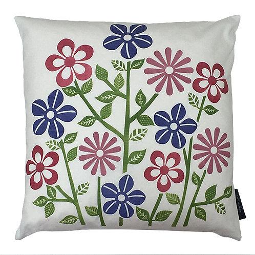 Flower Stems Cushion - Blue