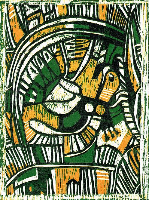 Abstract 'Dandelion & Dock' - Woodcut
