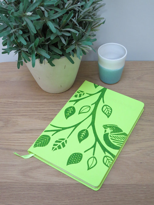A5 Birds on Branch Hand-printed Notebook - Lime