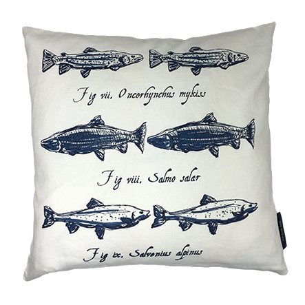 Salmon Country Life Linen Union Cushion - Navy