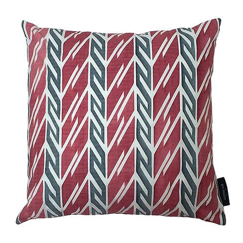 Butterfly Stripe Cushion - Crimson and Grey