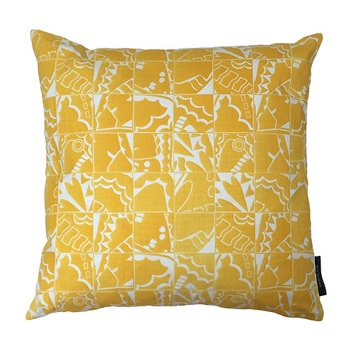 Butterfly Check Cushion - Yellow