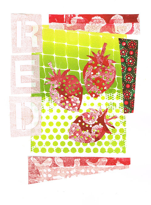 3 Strawberries - Linocut