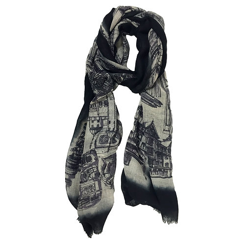 London CityLife Scarf - Black Beige Black