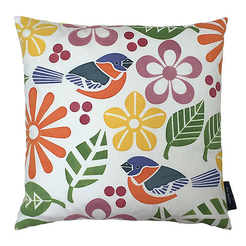 Birds and Flowers Cushion - Yellow