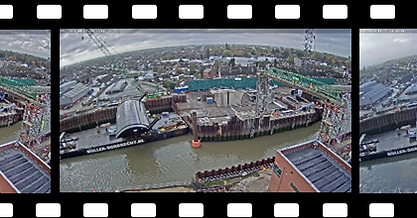 Time-lapse sequence of harbour construction