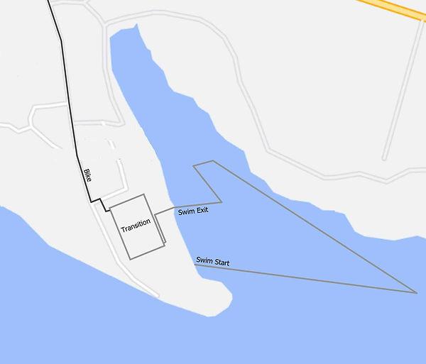 The Dambuster Triathlon swim course map