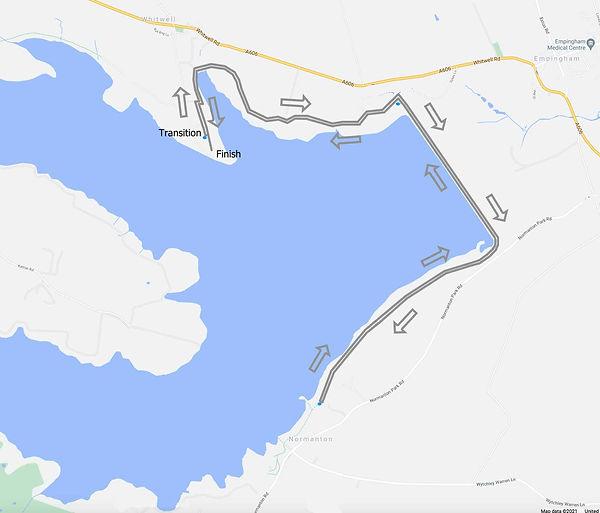 The Dambuster Triathlon Run course map