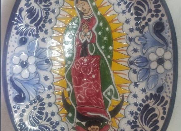 Charola Ovalada Virgen de Guadalupe Azul y Blanco