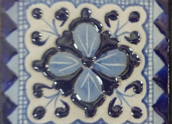 Azulejo Decorado Azul y Blanco