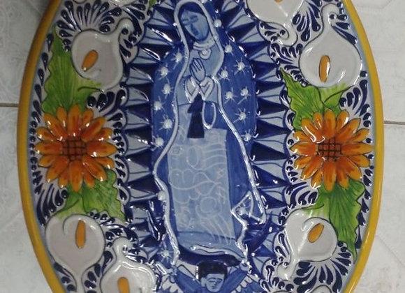 Charola Ovalada Virgen de Guadalupe con Colores