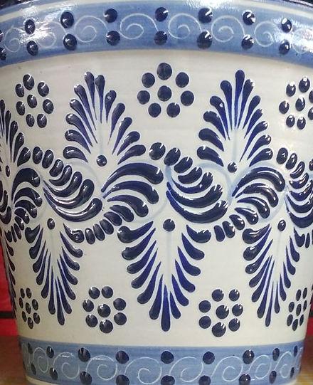 Muestra del decorado Plumeado Azul y Blanco
