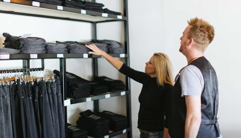 This is me choosing my first pair of Outland Denim jeans