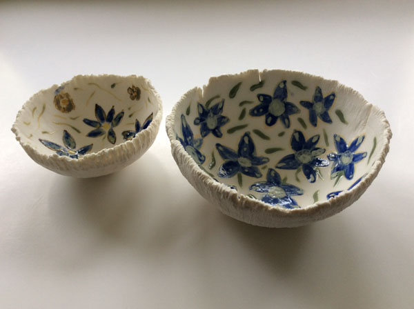 Porcelain flower bowls
