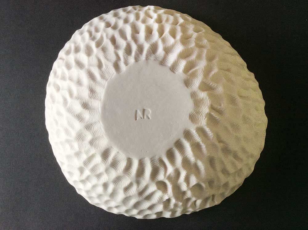 Porcelain textured fossil bowl