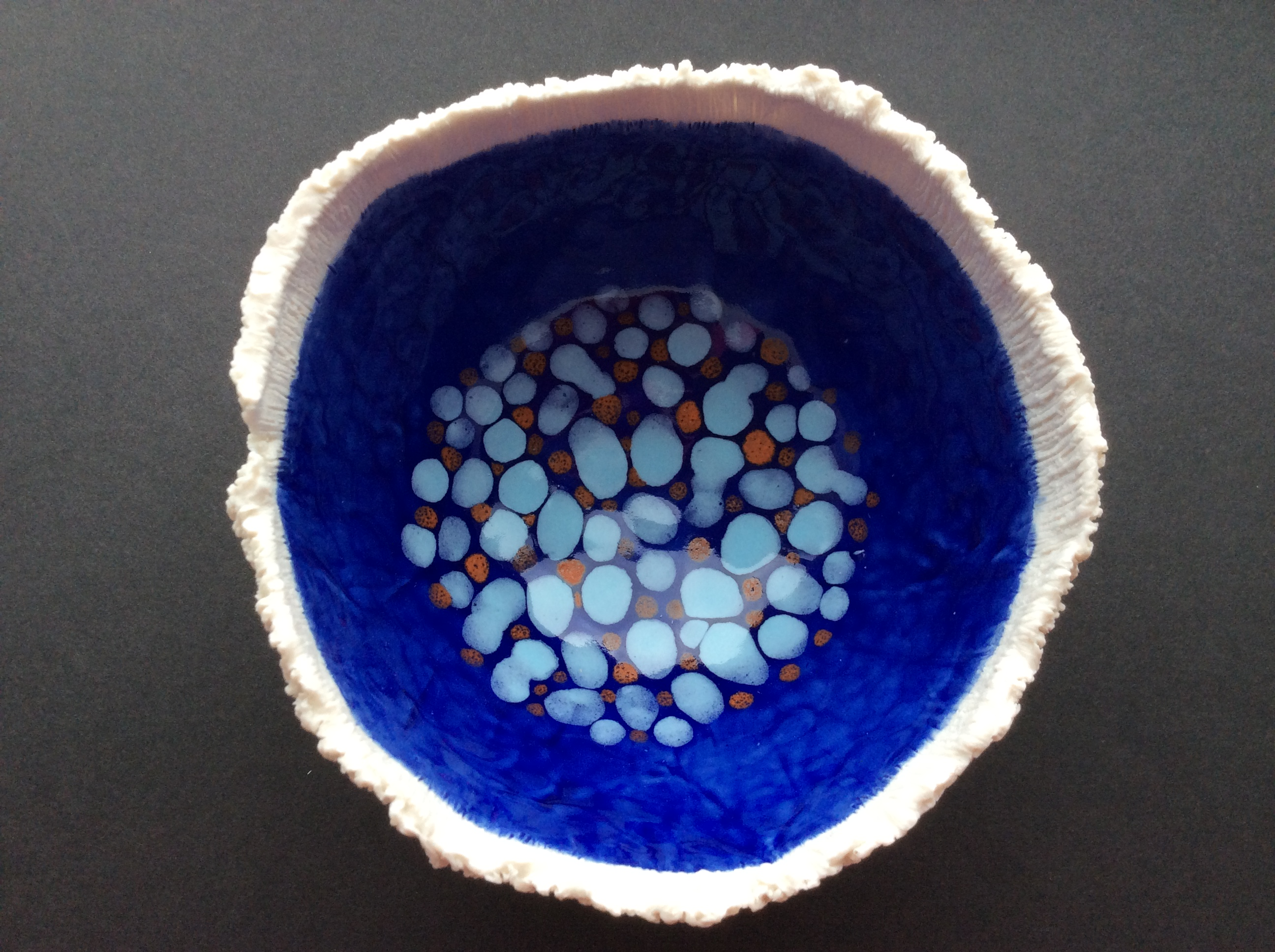 Porcelain blue and orange dots bowl