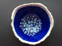 Porcelain blue and orange dots bowl