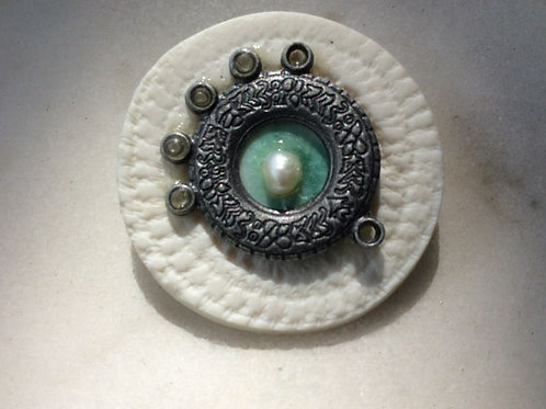 Steam Punk and Pearls porcelain Brooch