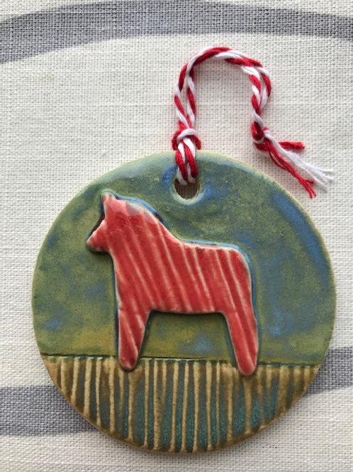 Round Dala Horse Decoration