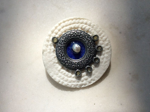 Porcelain steam punk and pearls brooch