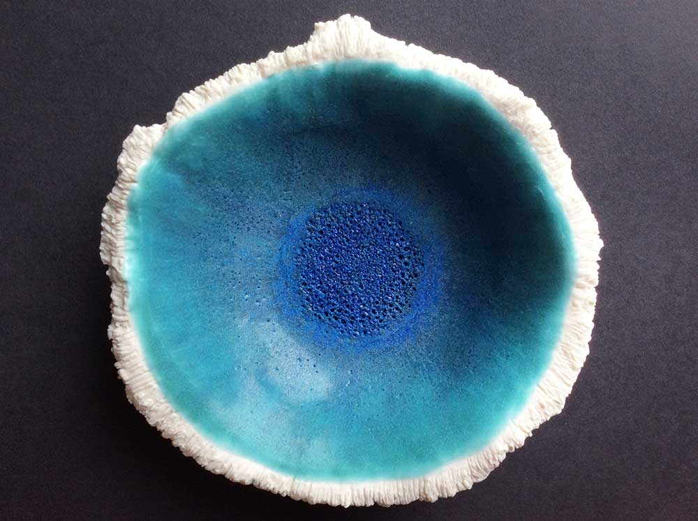 Porcelain textured blue bowl