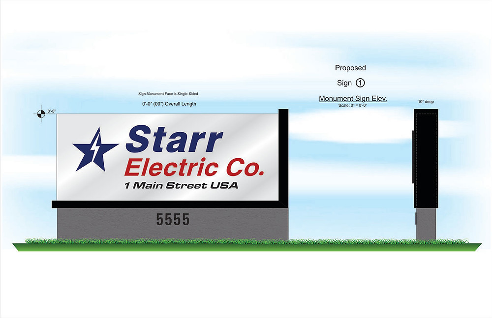 Monument Sign Drawings for Commercial Sign Companies | Nationwide