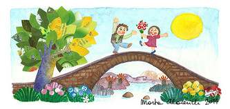 """Biglietto per matrimonio ispirato a """"Il ponte dei bambini"""" di Stepan Zavrel"""
