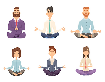 Cartoon drawings of people meditating | The Open Mind Institute