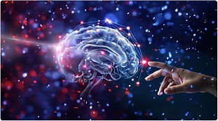 A hand reaching out to an image of a brain | The Open Mind Institute